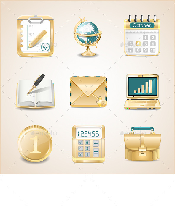 GraphicRiver Business Icons of Gold 9793887