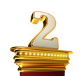 Number Two on a golden platform over white - PhotoDune Item for Sale