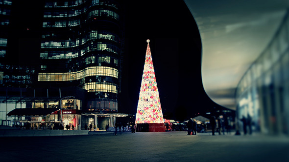 Modern Christmas Tree in the City