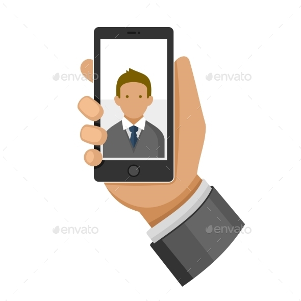 GraphicRiver Man Making Selfie Photo on Phone 9794837