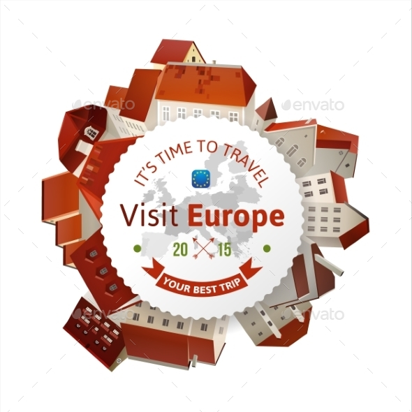 GraphicRiver Visit Europe Emblem with City Landscape 9794876