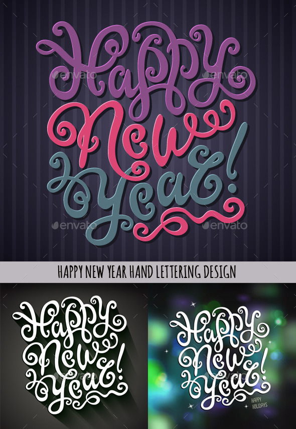 GraphicRiver Happy New Year Hand Lettering Set 9794884