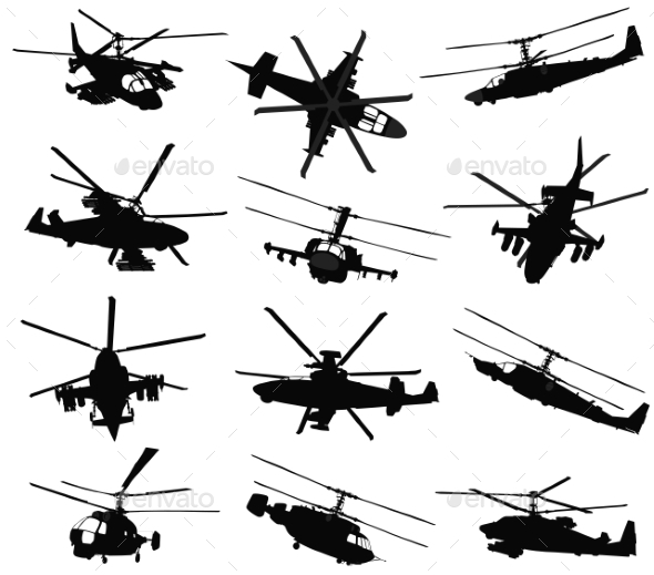 GraphicRiver Helicopter Silhouettes Set 9795298