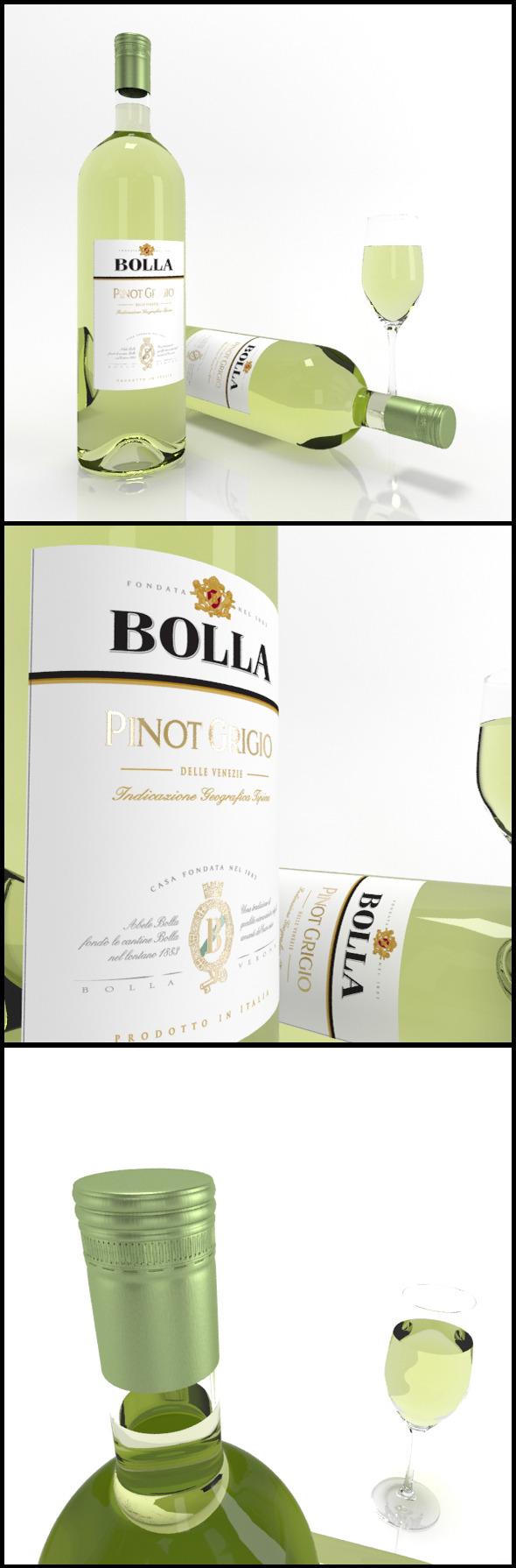 3DOcean Pinot Grigio wine bottles & full glass Bolla 9795570