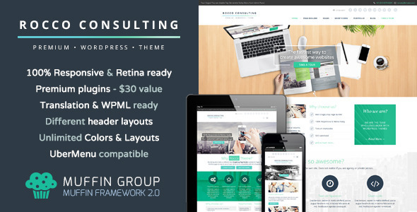 Rocco Flat Premium WordPress Theme - Business Corporate