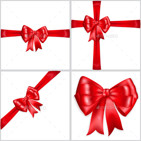 GraphicRiver Bows Made of Red Ribbons 9795646