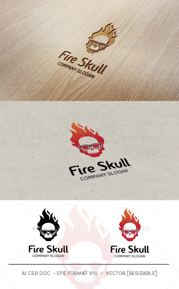 GraphicRiver Fire Skull Logo 9795892