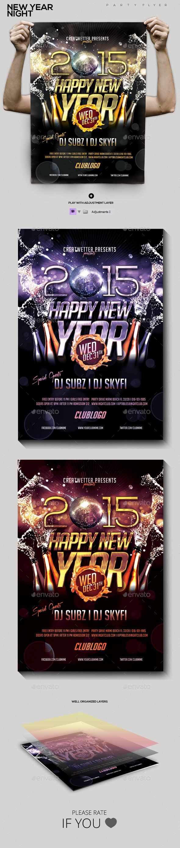 GraphicRiver New Year Night Party Flyer 9741047