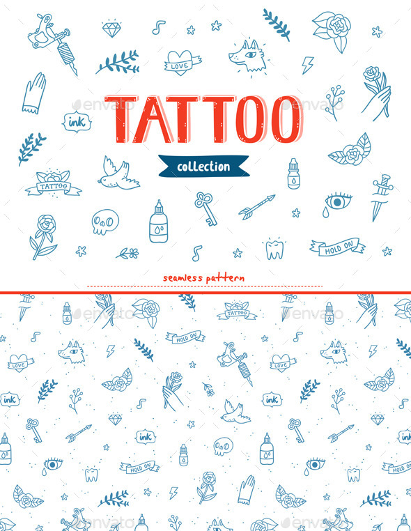 GraphicRiver Tattoo Doodles Collection 9796037
