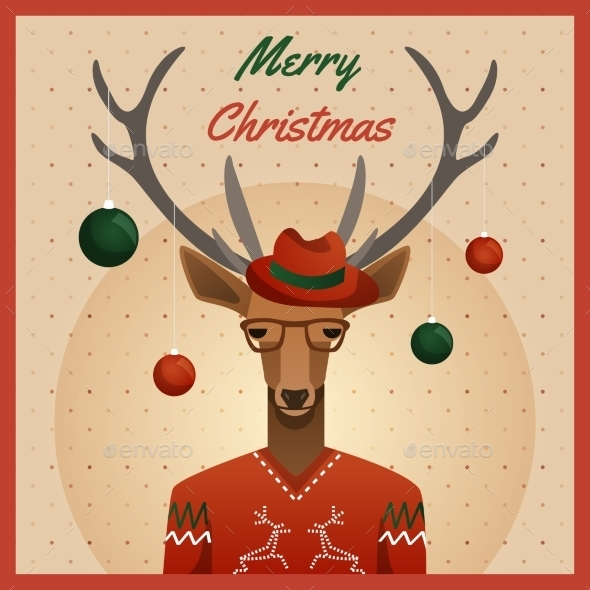 GraphicRiver Hipster Deer with Hat and Christmas Balls 9796455