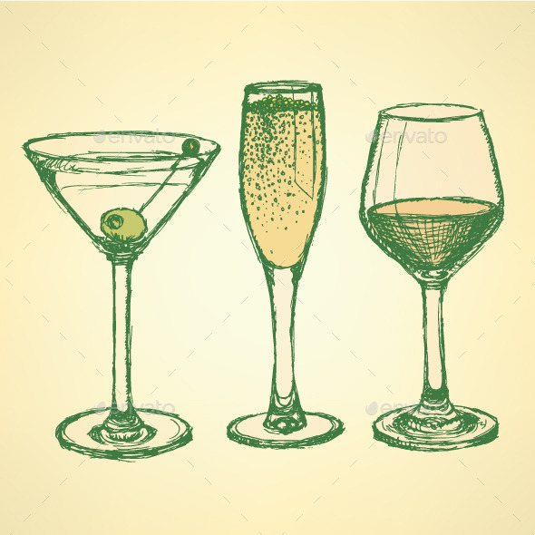 GraphicRiver Sketch Martini Champagne and Wine Glass 9796459