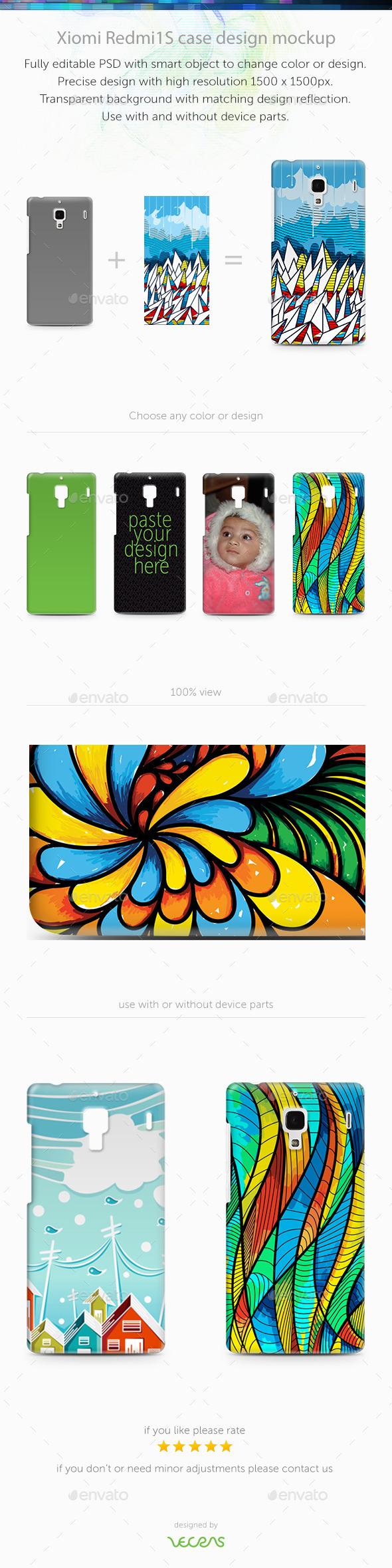 GraphicRiver Xiaomi RedMi 1 1S Case Design Mockup 9743137