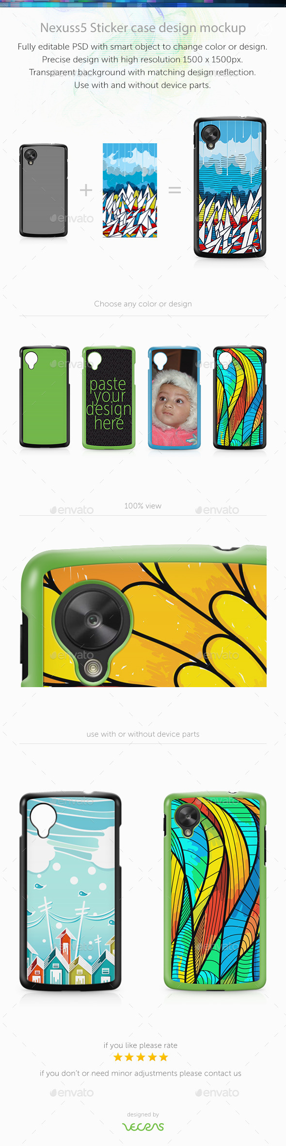 GraphicRiver Nexuss 5 Sticker Case Design Mockup 9742993