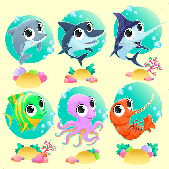 GraphicRiver Funny Marine Animals with Backgrounds 9796632