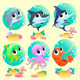 Funny Marine Animals with Backgrounds - GraphicRiver Item for Sale