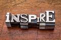 inspire word in metal type - PhotoDune Item for Sale