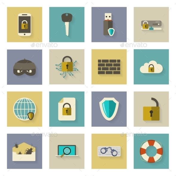 GraphicRiver Cyber Defense Flat Icons Set with Shadows 9796719