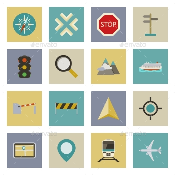 GraphicRiver GPS and Navigation Flat Icons Set 9796847