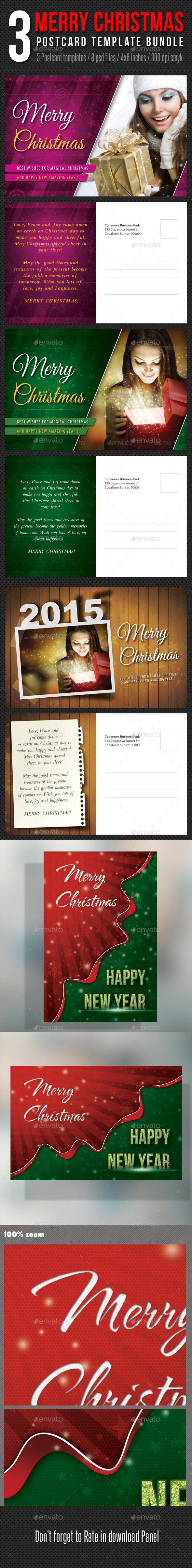 GraphicRiver 3 in 1 Merry Christmas Postcard Template Bundle 9796864