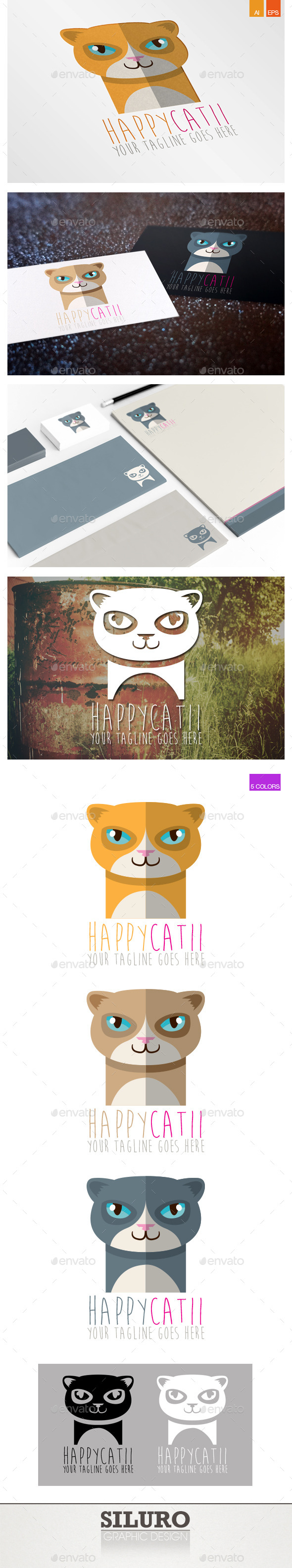GraphicRiver Happy Cat II Logo 9796873