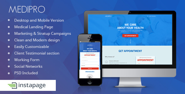 ThemeForest Medipro Medical Instapage Landing Page 9572198