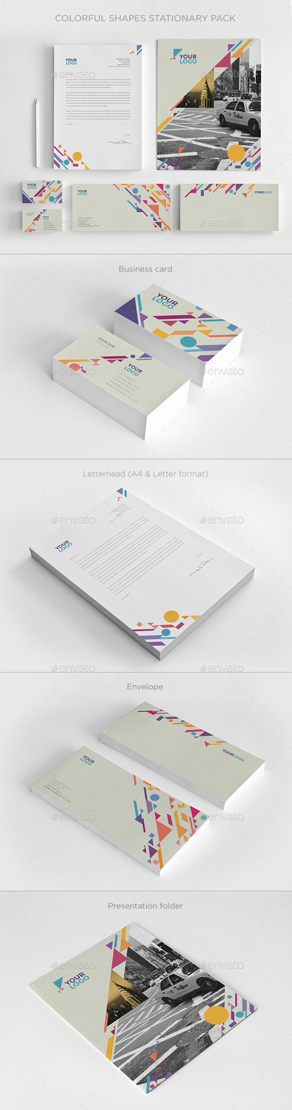 GraphicRiver Colorful Shapes Stationery 9797975