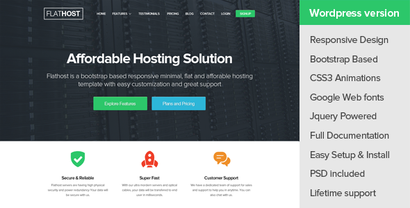 ThemeForest FlatHost WordPress Hosting Theme & WHMCS 9764230