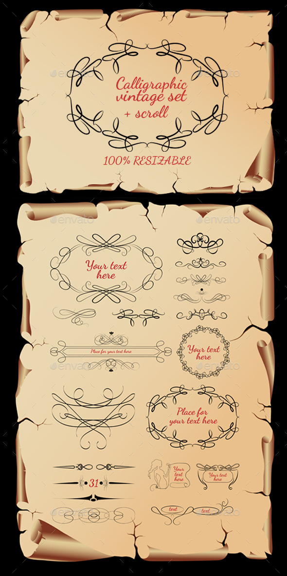 GraphicRiver Calligraphic Vintage Set 9737977