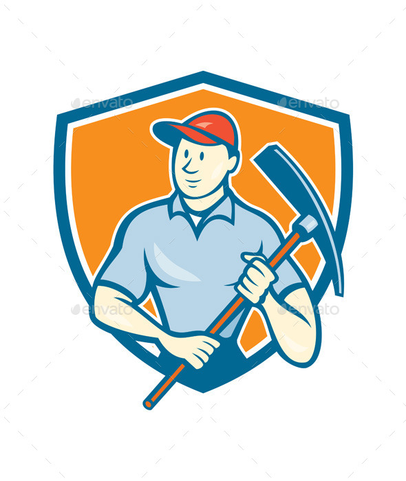GraphicRiver Construction Worker Holding Pickaxe Shield Cartoon 9799003