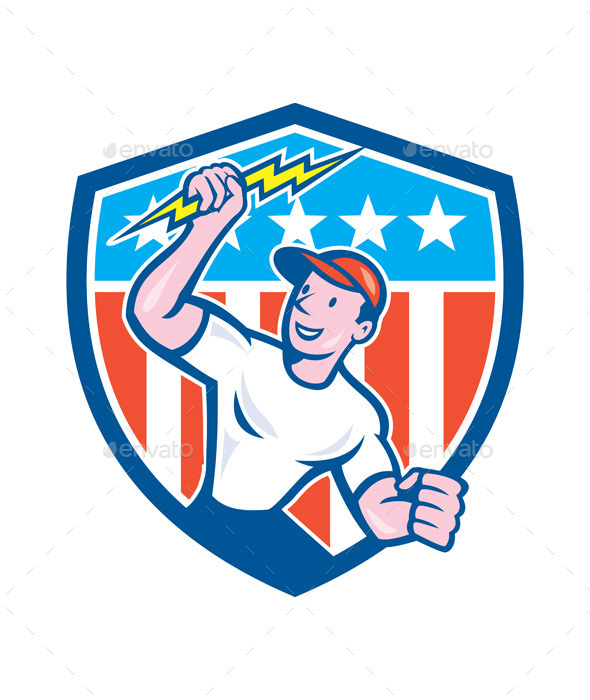 GraphicRiver Electrician Lightning Bolt USA Flag Cartoon 9799008