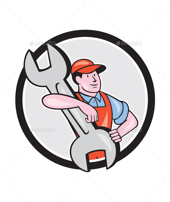 GraphicRiver Mechanic Carry Spanner Wrench Circle Cartoon 9799013