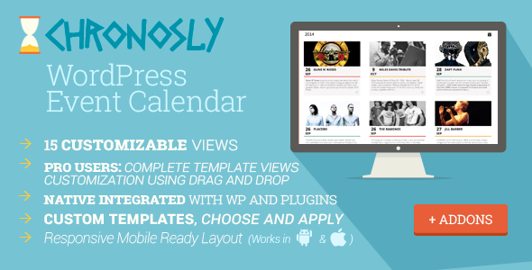 Chronosly WordPress Events Calendar Plugin Whatever your programming level, Chronosly, one of the best WordPress events calendar plugin, is designed to suit al