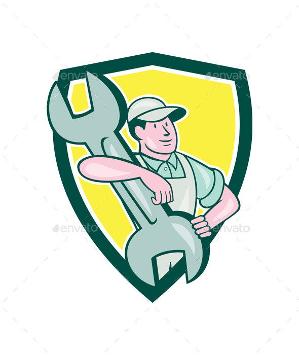 GraphicRiver Mechanic Carry Spanner Wrench Shield Cartoon 9799016