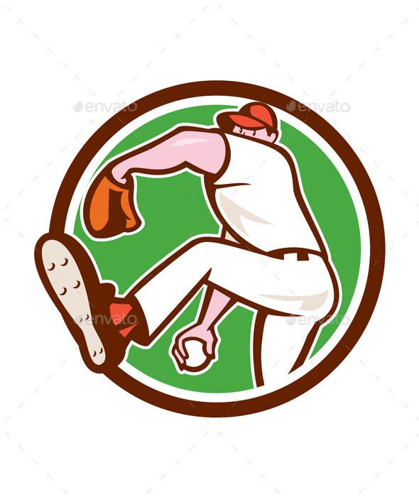 GraphicRiver Baseball Pitcher Throwing Ball 9799020