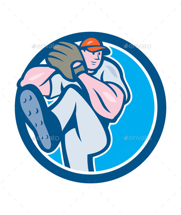 GraphicRiver Baseball Pitcher Outfielder Leg Up Circle Cartoon 9799072