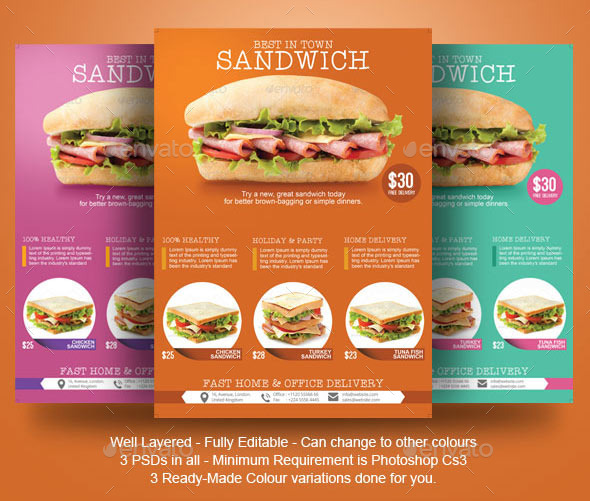 Sandwich flyer template by blogankids graphicriver for Sandwich shop menu template