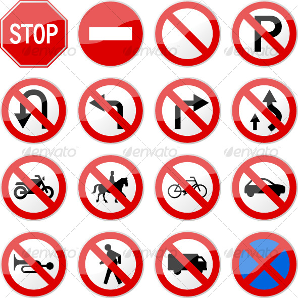 Road Sign Glossy Vector Set 4 of 6