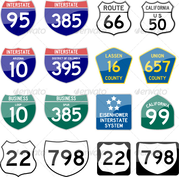 Road Sign Interstate Glossy Vector Set 6 of 6