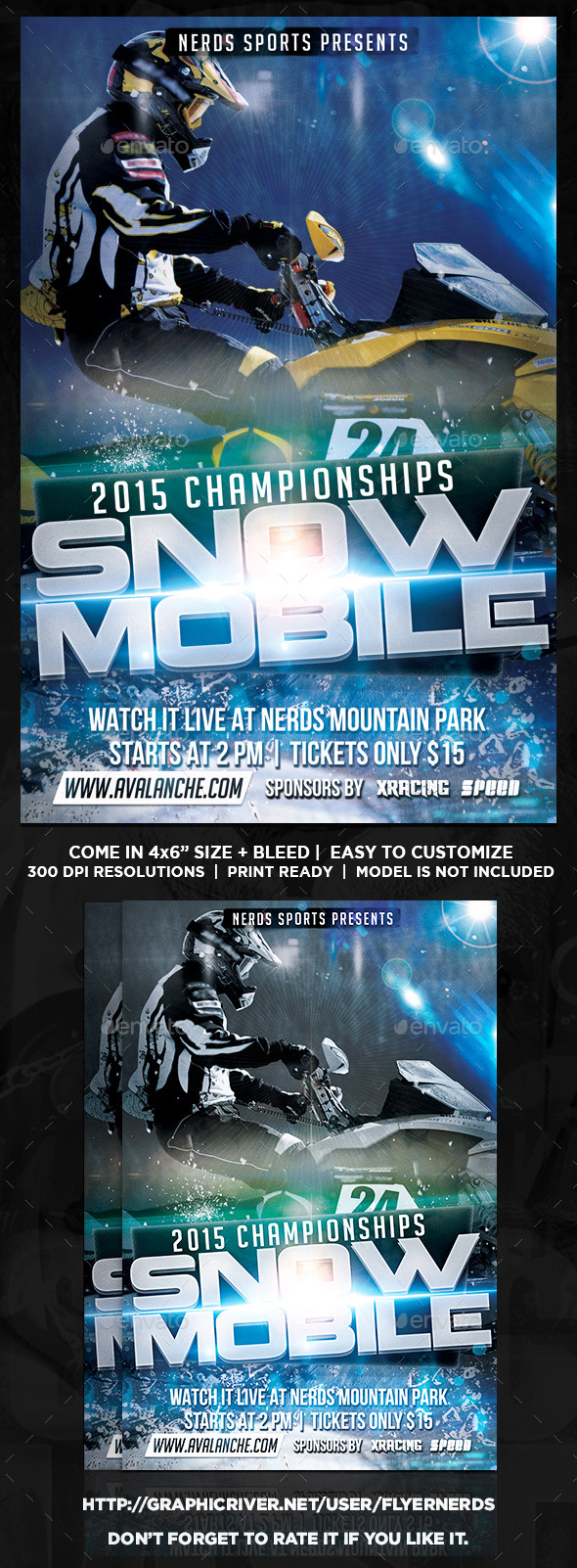GraphicRiver Snow Mobile Competition Sports Flyer 9764108