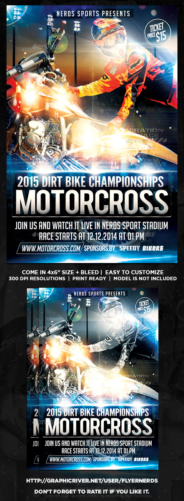 GraphicRiver MotorCross Championships Sports Flyers 9730992