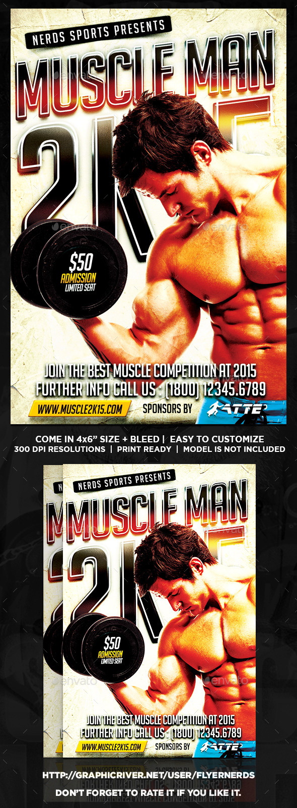 GraphicRiver Muscle Man 2K15 Sports Flyer 9800398