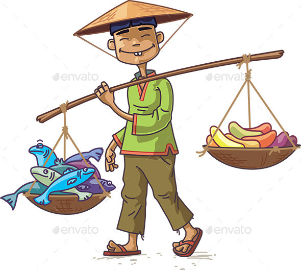 GraphicRiver Asian Merchant with Fresh Fish and Fruits 9800401