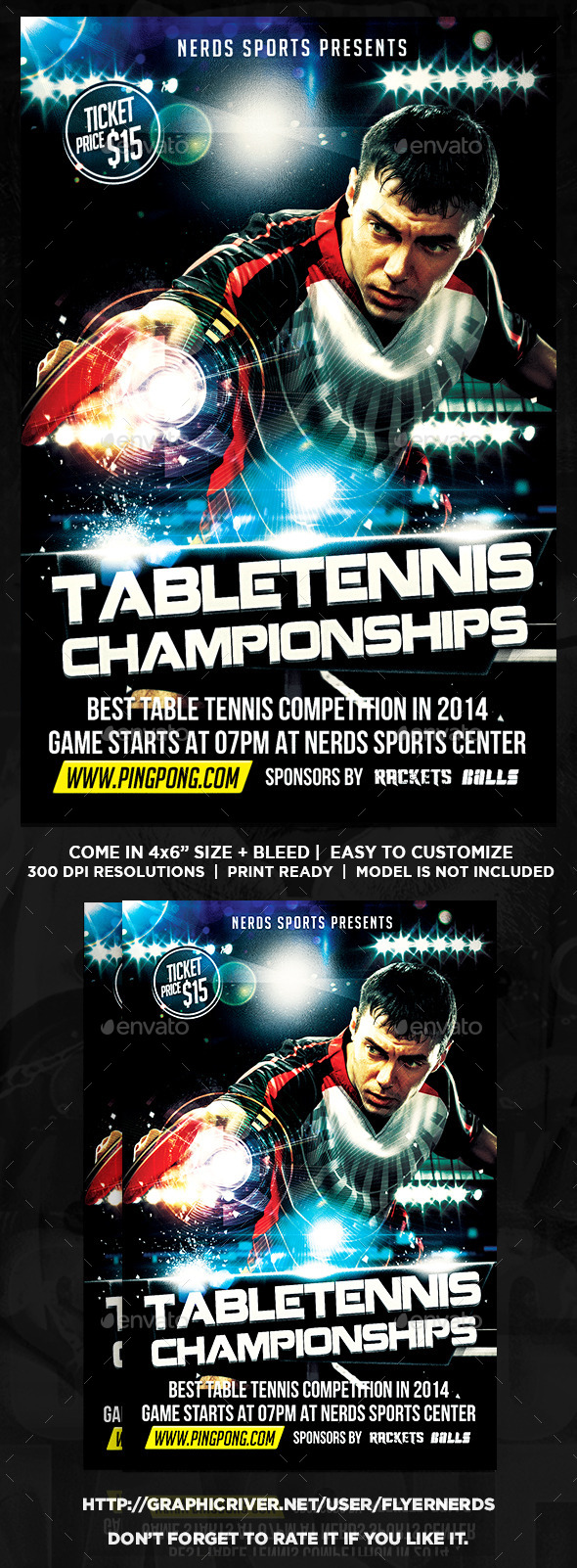 GraphicRiver Table Tennis Championships Sports Flyer 9800404