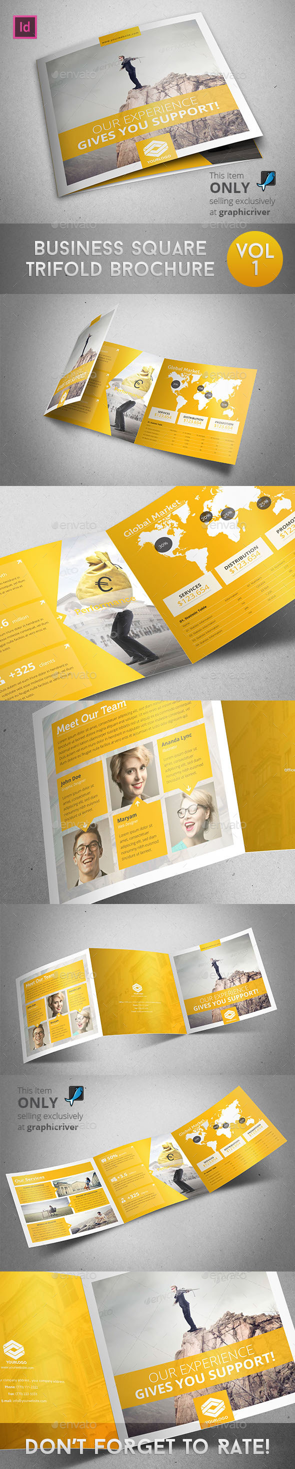 GraphicRiver Business Square Trifold Brochure 9800512