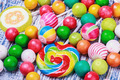 sweets and chewing gum on a wooden table - PhotoDune Item for Sale