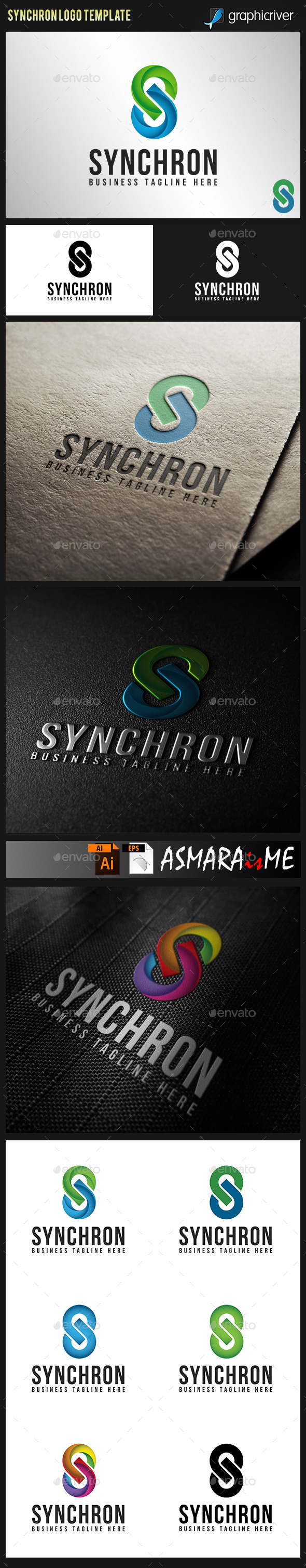 GraphicRiver Synchron Stylish Letter S Logo 9801346