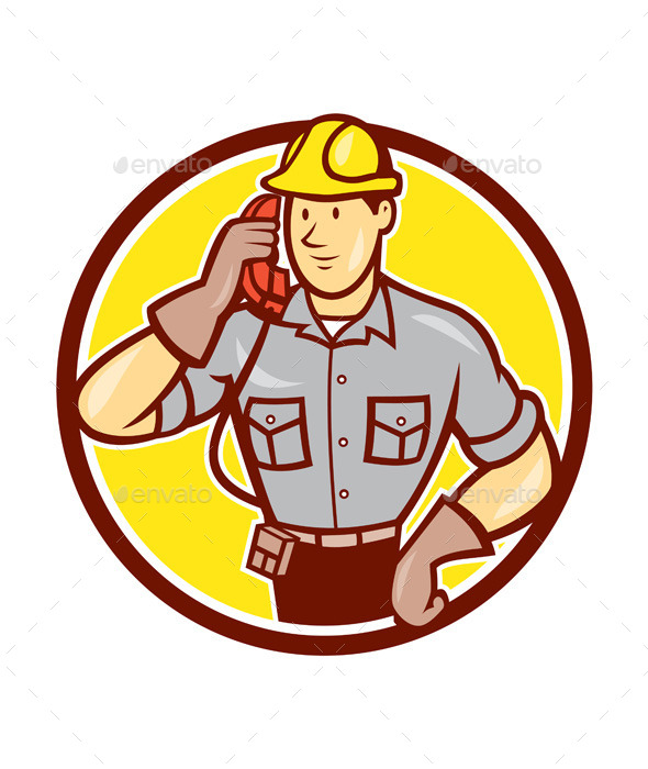 GraphicRiver Telephone Repairman Phone Circle Cartoon 9801454