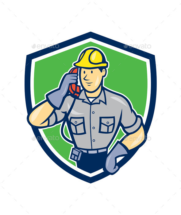 GraphicRiver Telephone Repairman Phone Shield Cartoon 9801464