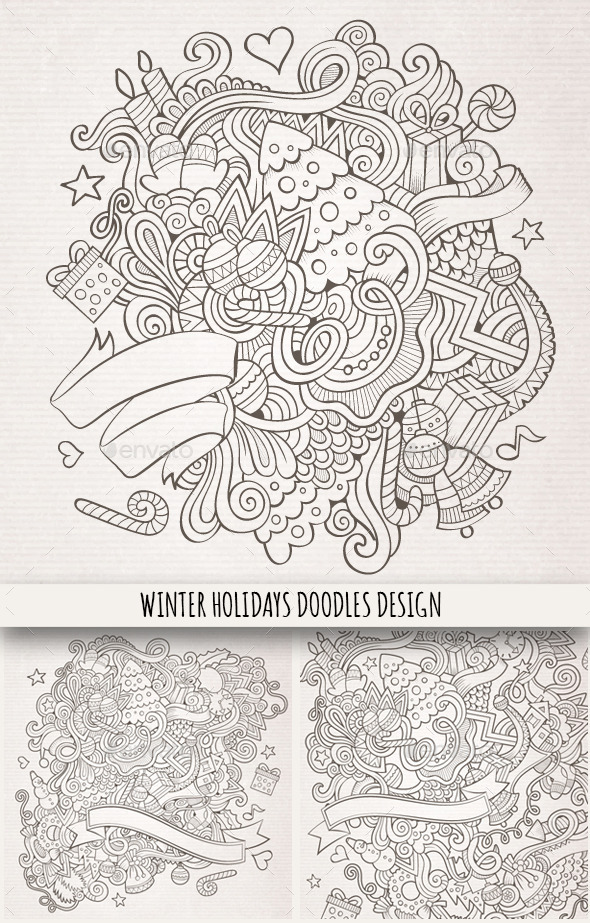 GraphicRiver 3 Winter Holidays Hand Drawn Backgrounds 9801971