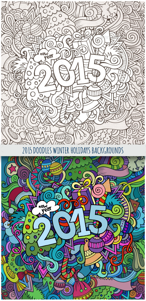 GraphicRiver 2015 Year Doodles Backgrounds 9802141